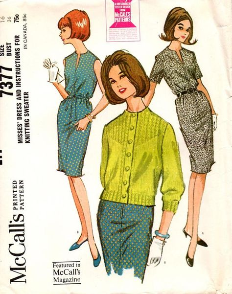 1964 McCalls 7377 Vintage Sewing Pattern. Slim dress with elastic or drawstring in casing at waistline. Dress has center front neck opening and zipper, may be sleeveless or have short set-in sleeves. Belt is worn when dress has elasticized waistline. Size 16 Bust 36 Waist 28 Hip 38
