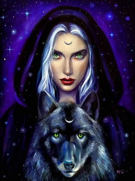 Wiccan art, 8x10 print, witchy decor, pagan art print, wiccan wolf art, gift for wolf lover, wolf ar