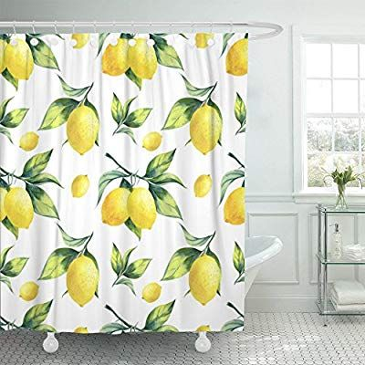 Amazon Com Tompop Shower Curtain Watercolor Fruit Lemon Pattern On White Colorful Tree Botanical Waterproof Polyester Fabric 72 X 72 Tropical Shower Curtains Beach Shower Curtains Fabric Shower Curtains