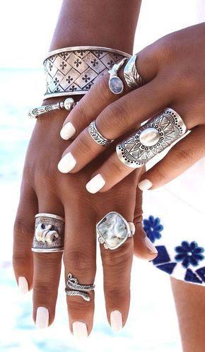 1//9X Silver Punk Vintage Rings Womens Retro Geometry Finger Rings Boho B$CA
