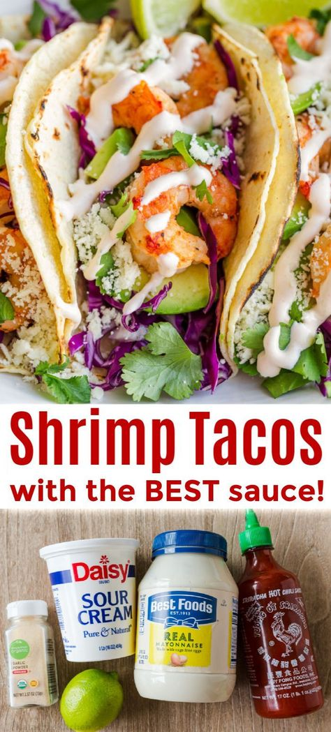 Shrimp Taco Recipe with Garlic Lime Crema Shrimp tacos are one of the easiest and fastest tacos to make. You'll love the shrimp taco sauce - a garlic lime crema that is lip smacking good. We make these tacos all year long. Our favorite for Taco night! Shrimp Taco Sauce, Shrimp Taco Recipes, Fish Recipes, Mexican Food Recipes, Healthy Recipes, Garlic Shrimp Taco Recipe, Sauce For Shrimp Tacos, Easy Shrimp Tacos, Taco Sauce Recipes
