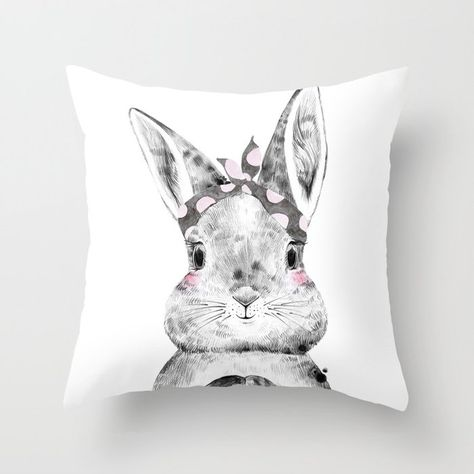 Bunny Pillow from Peppermint Creek. Adorable Bunny rabbit in a pink polka dot headscarf on pillow. #bunnypillow #bunnythrowpillow #bunnyrabbitpillow #rabbitpillow #bunnydecor #bunnycushion #girlbunny #girlpillow #girlsdecor #girlsbedroom #babygirl #bunnyrabbit #blushing #pinkdecor #pinkandgray #bunny #rabbit #easter #girlsnursery #babyshower #PeppermintCreek #cutegirldecor #bunnylover #rabbitlover #rabbitgift #bunnygift #polkadot #s6gtp #kidsbedroom #childrenspillow #kidspillow #society6