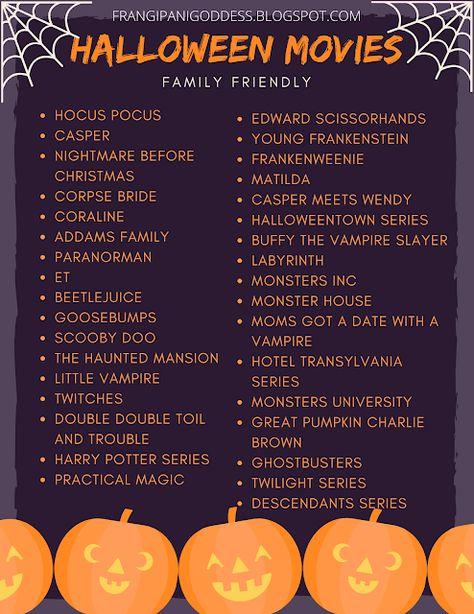 Frangipani Goddess: Halloween Movies To Watch (Family Friendly)