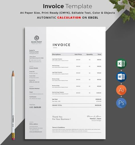 Invoice Template   Invoice Design   MS Excel Auto Calculation features   Receipt   Word Invoice   Photography Invoice   Business Invoice