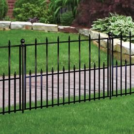 No Dig Actual 2 42 Ft X 3 15 Ft Empire Powder Coated Steel Pressed Point Decorative Metal Fence Panel At Lowes Co Metal Fence Panels Metal Fence Steel Fence