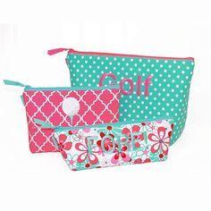 Rockflowerpaper Ocean Sea Horse Two Piece Cosmetic Bag Set