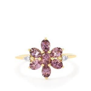 Purple Mahenge Spinel White Zircon 9k Gold Ring Atgw 1 39cts