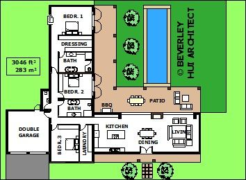 L-SHAPED HOUSE PLANS WITH POOL | VARIOUS SIZE ARCHITECT DESIGNED ...