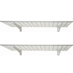 Hyloft 2 Shelf 45 In W Wire Garage Wall Storage System In White 00967 The Home Depot Wall Storage Wall Storage Systems Wall Mounted Shelves