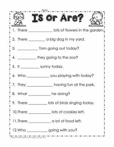 Is Vs Are Worksheet 1 Subject Verb Grammar Worksheets Subject Verb Agreement 2nd grade grammar worksheets