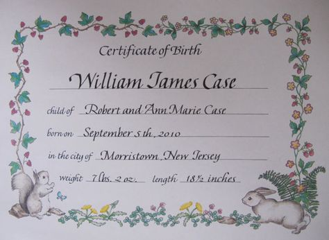 Personalized Calligraphy Birth Certificate by writesofpassage - online birth certificate maker