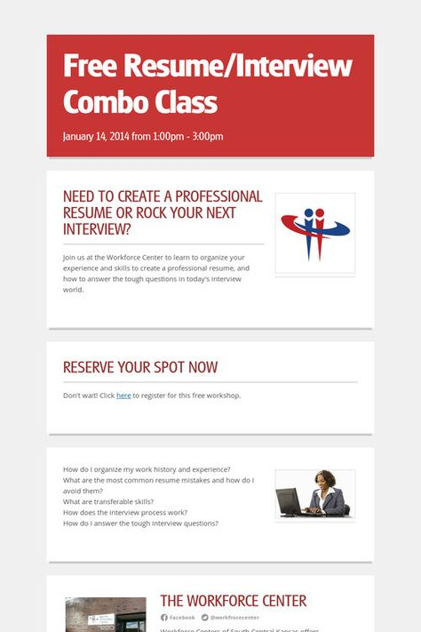 Free Resume\/Interview Combo Class   January 14, 2013 #WCNews   How  How To Do A Free Resume