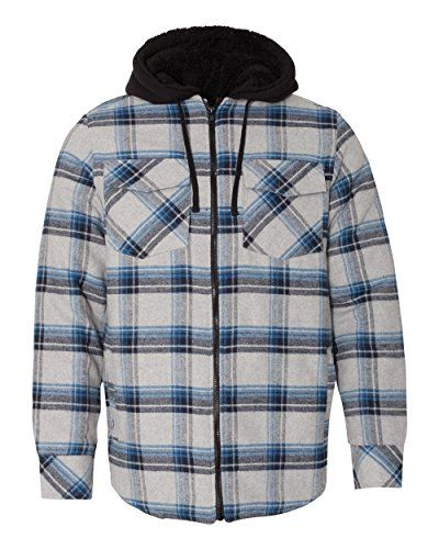 Check This Burnside Men S 8620 Plaid Quilted Lined Flannel Full Zip H Jacket Coat 5 4 Oz 100 Hooded Jacket Men Winter Jacket Outfits Jackets Men Fashion