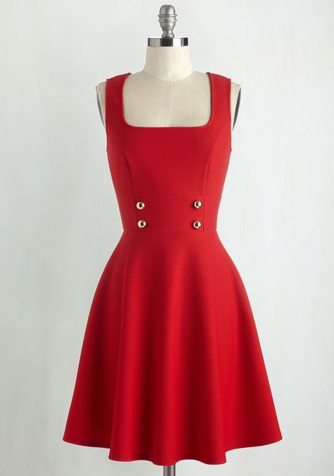 Delightfully Charming Dress in Ruby - Americana, Red, Solid, Casual, A-line, Sleeveless, Knit, Good, Buttons, Mid-length, Variation