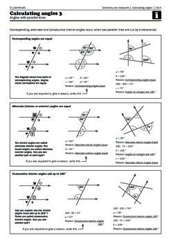 Calculating angles 3 - Angles with parallel lines ...