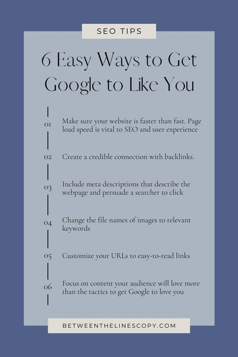 6 Easy Ways to Get Google to Like You | SEO Tips from Between the Lines Copywriting