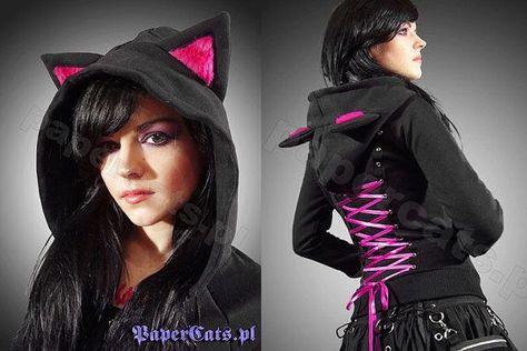 Hoodie black cat ears corset kawaii by PaperCatsPL on Etsy