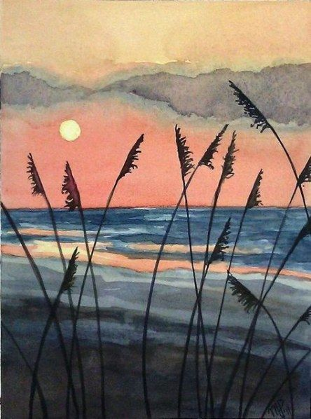Sonnenuntergang Sonnenuntergang Malen Aquarell Sonnenuntergang