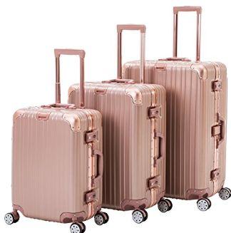 Rose Gold 3 piece hardshell luggage best travel luggage under $100