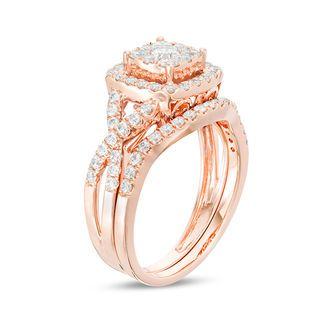 1 Ct T W Diamond Double Cushion Frame Twist Bridal Set In 10k Rose Gold Zales Outlet Bridal Ring Sets Wedding Ring Bands Engagement Rings Bridal Sets