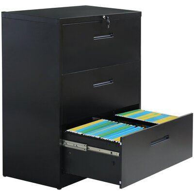Latitude Run Abrienda 3 Drawer Lateral Filing Cabinet Colour