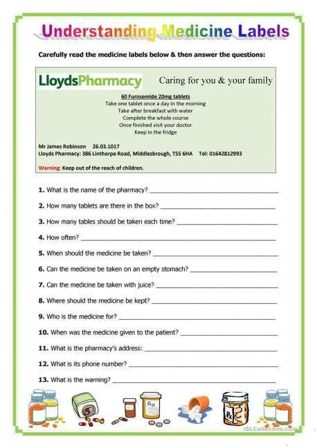 42++ Reading prescription labels worksheets Images