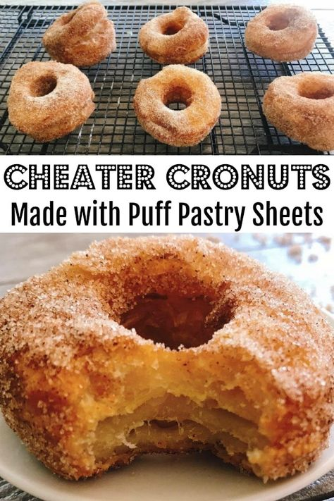 Disney World Cronuts Recipe A super easy recipe for Disney World Cronuts Cheater Cronuts that will knock your socks off! Layers of delicious puff pastry dough, fried to perfection and covered in cinnamon and sugar! Just like Epcot! Puff Pastry Desserts, Köstliche Desserts, Delicious Desserts, Dessert Recipes, Yummy Food, Recipes Using Puff Pastry, Recipes Dinner, Puff Pastry Recipes Savory, Phyllo Dough Recipes