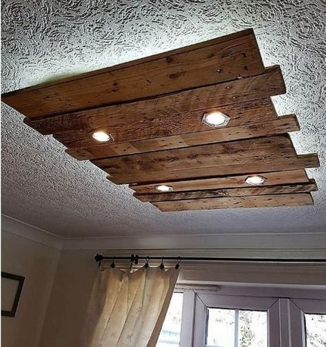 Wood Pallets Wall And Roof Lighting Art: Here we are going to present an idea of creating wood pallets wall and roof lighting art for the awesome look of the
