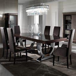 Large Modern Italian Veneered Extendable Dining Table Set Brown