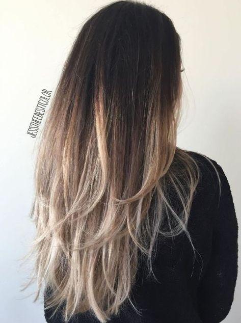 Gestuftes Ombre Für Langes Haar Frisuren Lange Haare Farbe