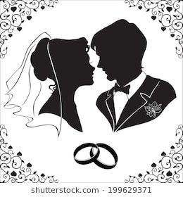 Silhouette of the bride and groom with beautiful framed