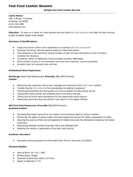sales associate resume sales associate job description - fast food restaurant resume