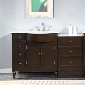 Silkroad Exclusive 58 In Dark Walnut Single Sink Bathroom Vanity