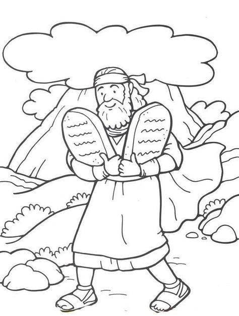 48 Moses And The 10 Commandments Bible Coloring Pages Sunday