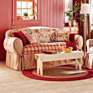 Red And Yellow French Country Sure Fit Shabby French Floral Toile Plaid Sofa Slipcover Country Cottage Living Room Living Room Red French Country Living Room