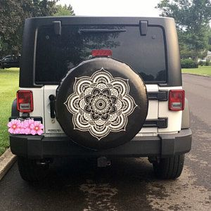 White Mandala Flower Spare Tire Cover Jeep Wrangler Rubicon Rv Etsy In 2020 Jeep Tire Cover Tire Cover Jeep Wrangler Rubicon