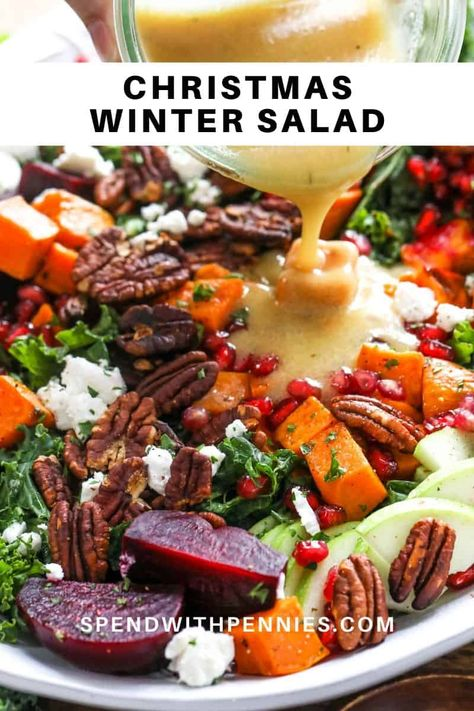 Winter Salad is a colorful and hearty dish! Made with roast vegetables, pomegranates, green apples, and goat cheese on a bed of kale this salad is delicious and healthy! This Winter Salad recipe is made wi Roasted Vegetable Salad, Roasted Vegetables, Root Vegetables, Vegetarian Recipes, Cooking Recipes, Healthy Recipes, Grilling Recipes, Winter Salad Recipes, Dinner Salads