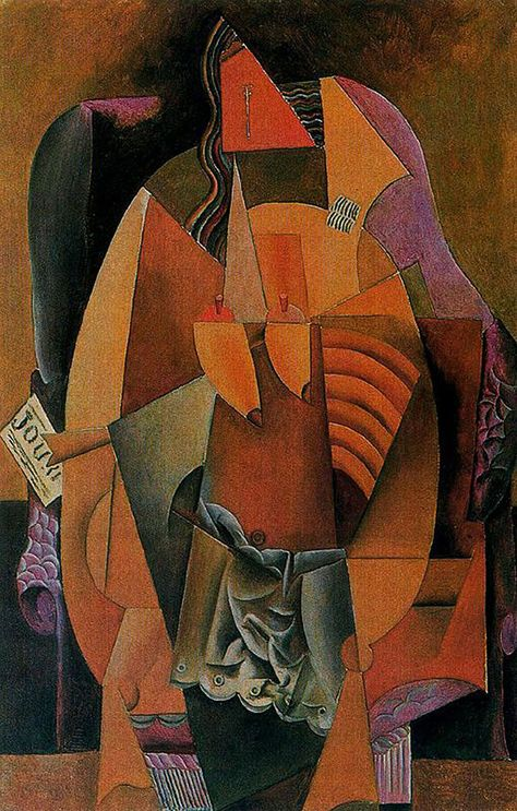 Woman w/ Shirt Sitting on Chair, 1913 by Pablo Picasso http://www.wikipaintings.org/en/pablo-picasso/woman-with-a-shirt-sitting-in-a-chair-1913#supersized-artistPaintings-224770