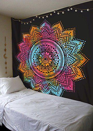 Labhanshi Multi Tie Dye Mandala Tapestry Indian Hippie Wall Hanging Bohemian Queen Wall Han Mandala Tapestry Hippie Tapestry Mandala Tapestries Wall Hangings