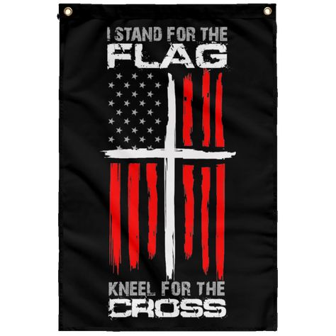 I stand for the Flag & Kneel for the Cross Wall Flag – Custom Sticker Shop American Flag Tattoos, Cop Land, American Flag Wallpaper, Cross Wallpaper, Patriotic Pictures, Patriotic Tattoos, Clock Tattoo Design, Firefighter Decor, Trump Is My President