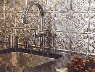 Stamped Metal Backsplash I Have This In My Kitchen Behind The Sink Makes Heart Skip A Beat 3 Tin Tile Tiles Home Kitchens