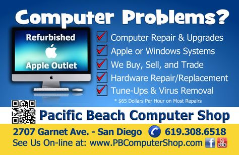 PB Computer Shop Flyer - Computer Repair San Diego CA Apple - computer repair flyer template