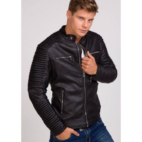 Pánska prešívaná kožená bunda v čiernej farbe - fashionday.eu ... 2a29588410f