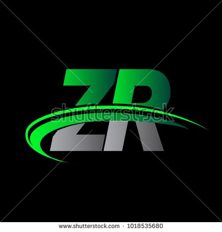 Initial Letter Zr Logotype Company Name Colored Green And Black