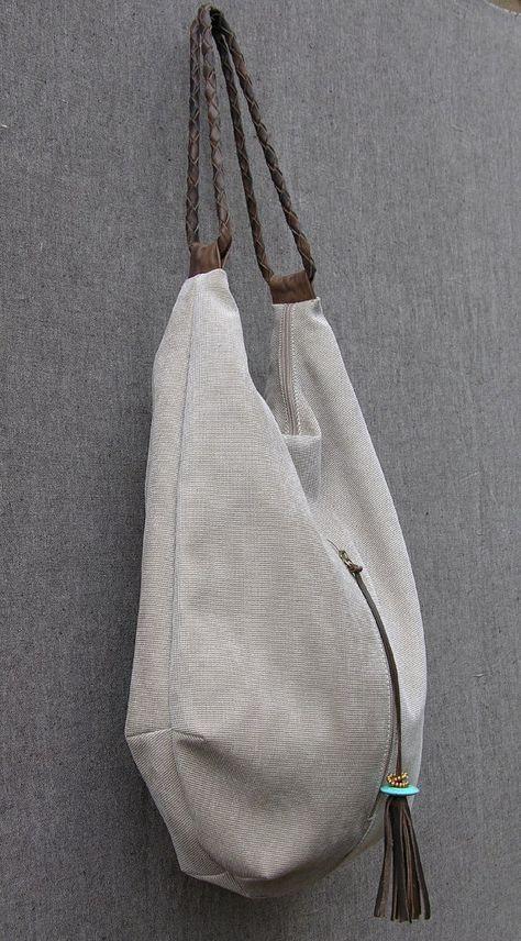Stein Canvas und Leder Tote Extra große Handtasche von RuthKraus