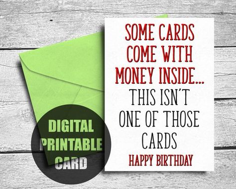 Funny Birthday Card Brother Printable Rude Sister
