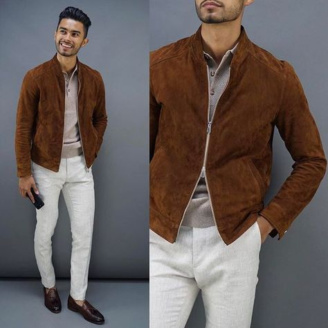 Tobacco suede jacket with a taupe polo shirt white denim brown penny loafers.