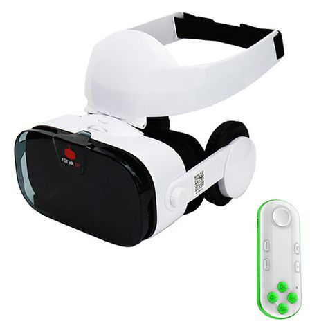 Fiit VR 3F 112FOV 42mm Lenses Virtual Reality 3D Glasses Headset VR BOX Helmet Cardboard +Headphone/Control Button for 4-6.4'
