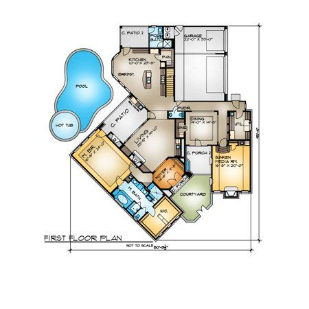 Thehousedesigners 4262 Construction Ready Mediterranean House Plan With Slab Foundation 4 Printed Sets Walmart Com Mediterranean House Plan Mediterranean Homes House Plans One Story