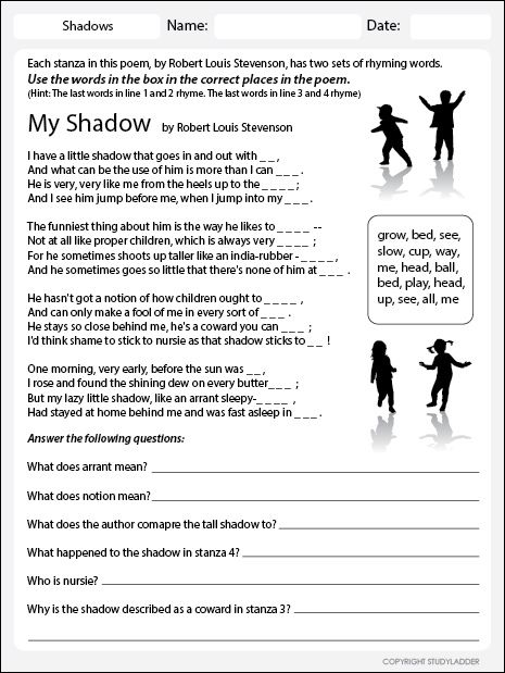 worksheets my shadow and me in 2020   Interactive learning, Shadow,  Learning worksheets